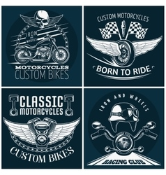 Motorcycle detailed emblem set vector