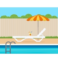 Lounge with umbrella near the pool vector image