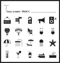 Travel element line icon set 4beach and sea vector