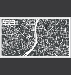 Ahmedabad india city map in retro style vector