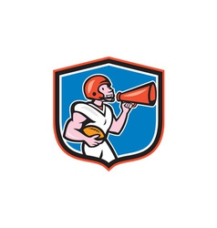 American football quarterback bullhorn shield vector