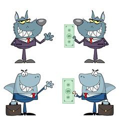Animals Businessmen Cartoon Characters vector image vector image