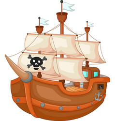 Antique pirate yacht cartoon vector