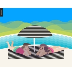 Beach scene with a landscape vector