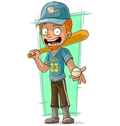 Cartoon redhead baseball player in cap vector image vector image