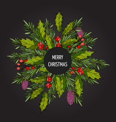christmas decoration - holly with berries and fir vector image vector image