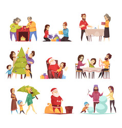 christmas new year icons set vector image vector image