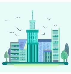 City birds trees houses buildings vector