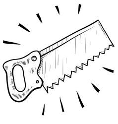 Doodle saw handsaw vector