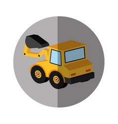 Excavator vehicle isometric icon vector