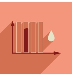 Flat web icon with long shadow water chart vector