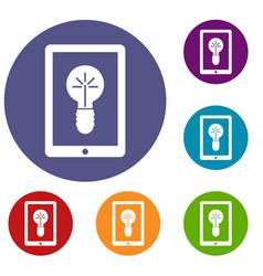 idea lamp on gadget screen icons set vector image
