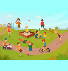 Kids playing composition vector
