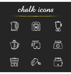 Kitchen electronics chalk icons set vector