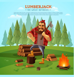 lumberjack woodsman outdoors cartoon poster vector image