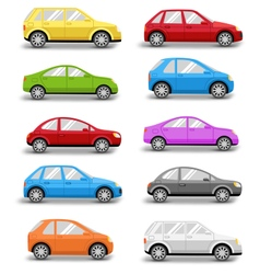 Multicolored cars collection with shadow isolated vector