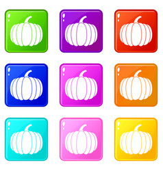 Pumpkin icons 9 set vector