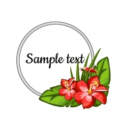 Round black frame decorated with flowers lilies vector