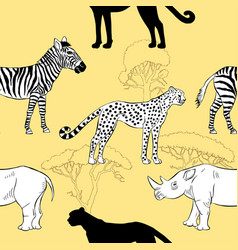 seamless pattern with savanna animals vector image vector image