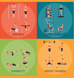 Set of fitness aerobic strength and body shaping vector