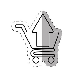 shopping cart application cut line vector image