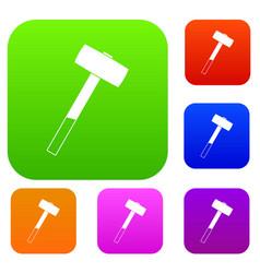 Sledgehammer set color collection vector