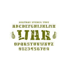 Stencil-plate slab serif font in military style vector