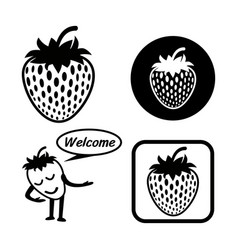 strawberry icon outline set vector image vector image