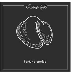 Tasty fortune cookie from chinese food monochrome vector