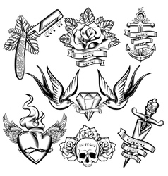 Tattoo Monochrome Elements Set vector image