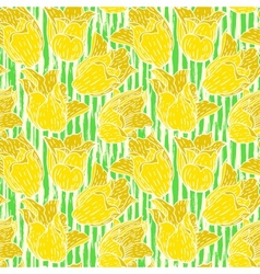 Vintage floral pattern with yellow tulips vector