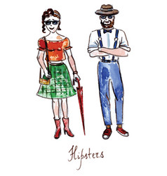 watercolor hipsters girl and boy vector image vector image