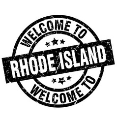Welcome to rhode island black stamp vector