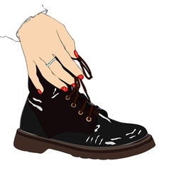 Woman with winter boot vector