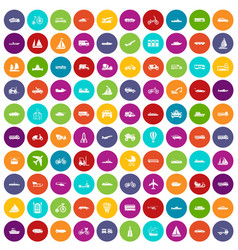 100 transportation icons set color vector