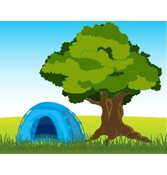 Tent under tree vector image