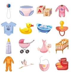 Baby born icons set cartoon style vector image