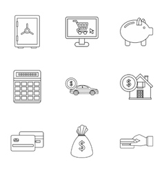 Cash icons set outline style vector