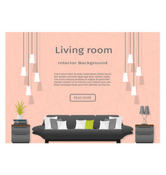 Modern living room interior banner website vector