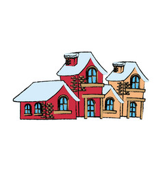 Christmas houses covered with snow with chimney vector