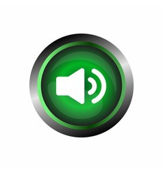 Speaker sound icon button isolated on green gloss vector