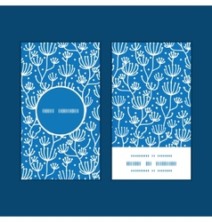 Blue white lineart plants vertical round vector