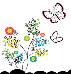 Butterflies and flowers 11 vector