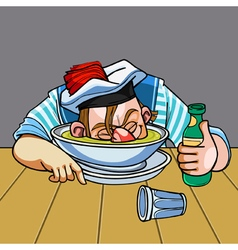 Cartoon drunken sailor nuzzled plate vector