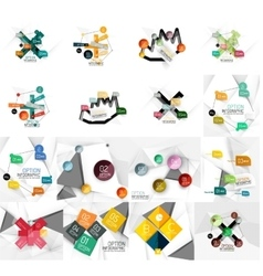 Set of abstract geometric paper infographic banner vector