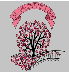 Hand drawn sketch heart tree vector