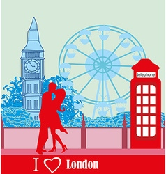 Romantic couple in london vector