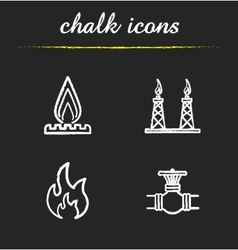 Gas industry chalk icons set vector