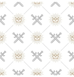 Seamless background with swords and crowns vector image