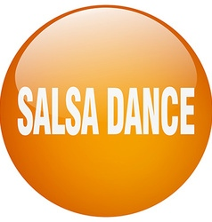 Salsa dance orange round gel isolated push button vector